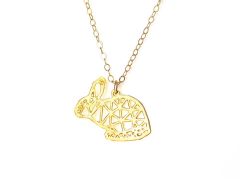 Rabbit Necklace - Brevity Jewelry - Made in USA - Affordable Gold and Silver Jewelry