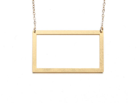 Rectangle - Large {{ product.type }} - Brevity Jewelry - Made in USA - Affordable gold and silver necklaces