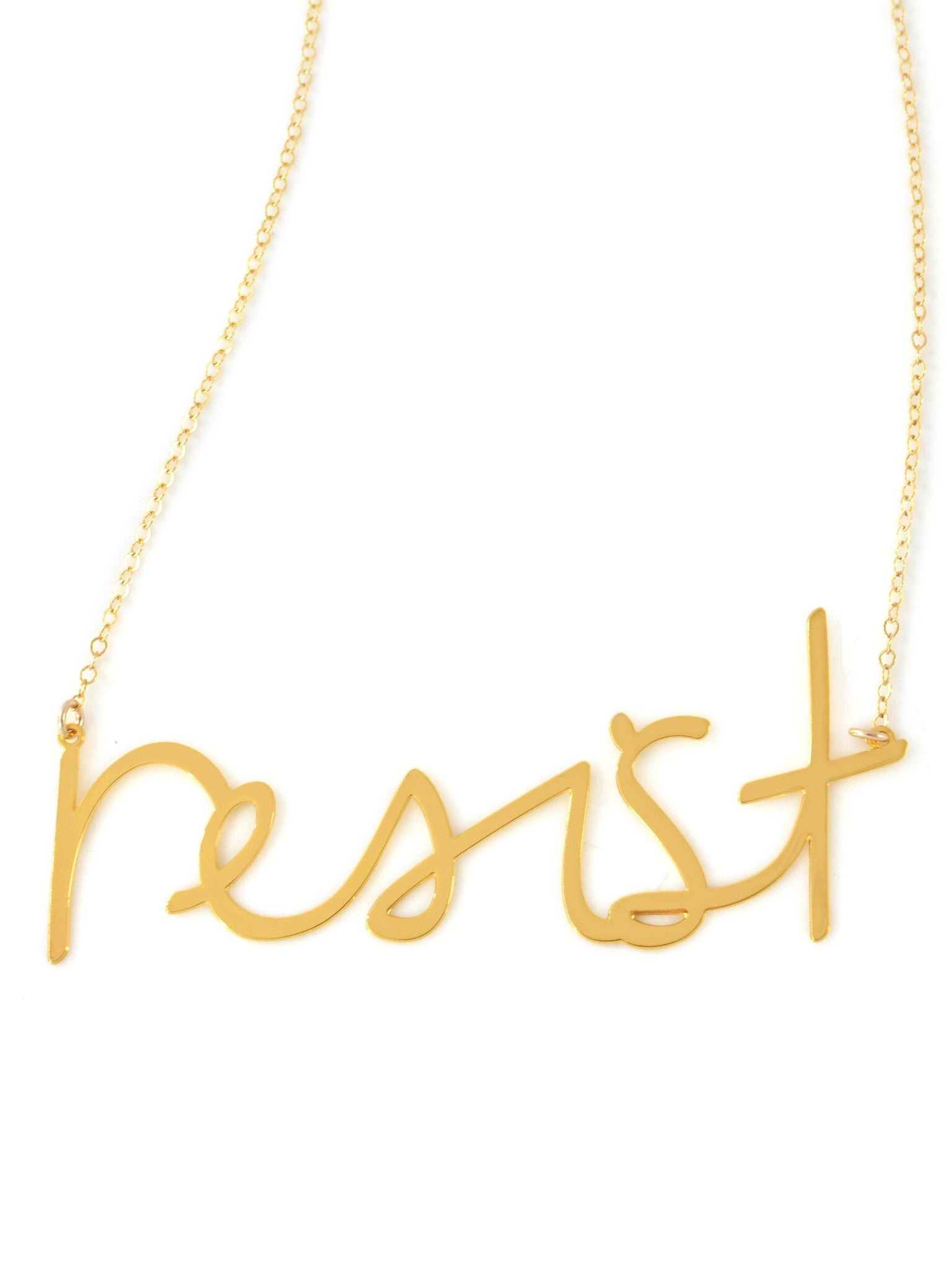 Resist Necklace - Brevity Jewelry - Made in USA - Affordable Gold and Silver Jewelry