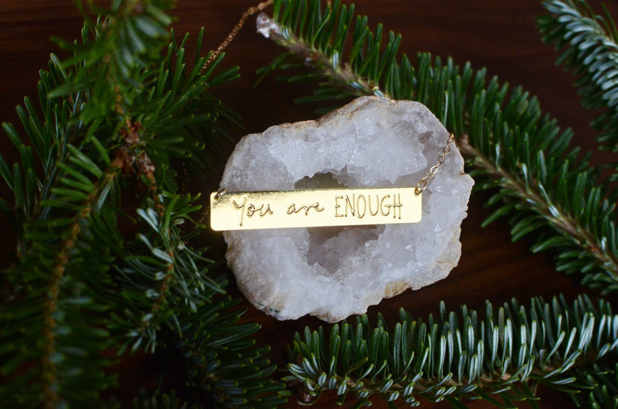 You Are Enough Necklace - Brevity Jewelry - Made in USA - Affordable Gold and Silver Jewelry
