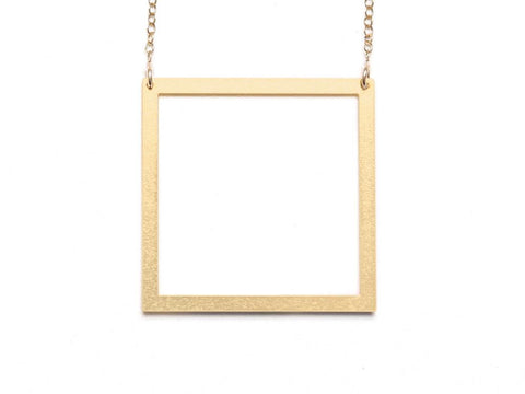 Large Square Necklace - Brevity Jewelry - Made in USA - Affordable Gold and Silver Jewelry