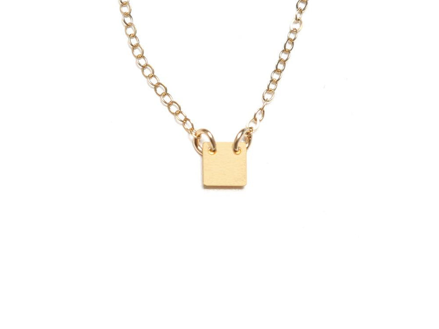 Small Square Necklace - Brevity Jewelry - Made in USA - Affordable Gold and Silver Jewelry