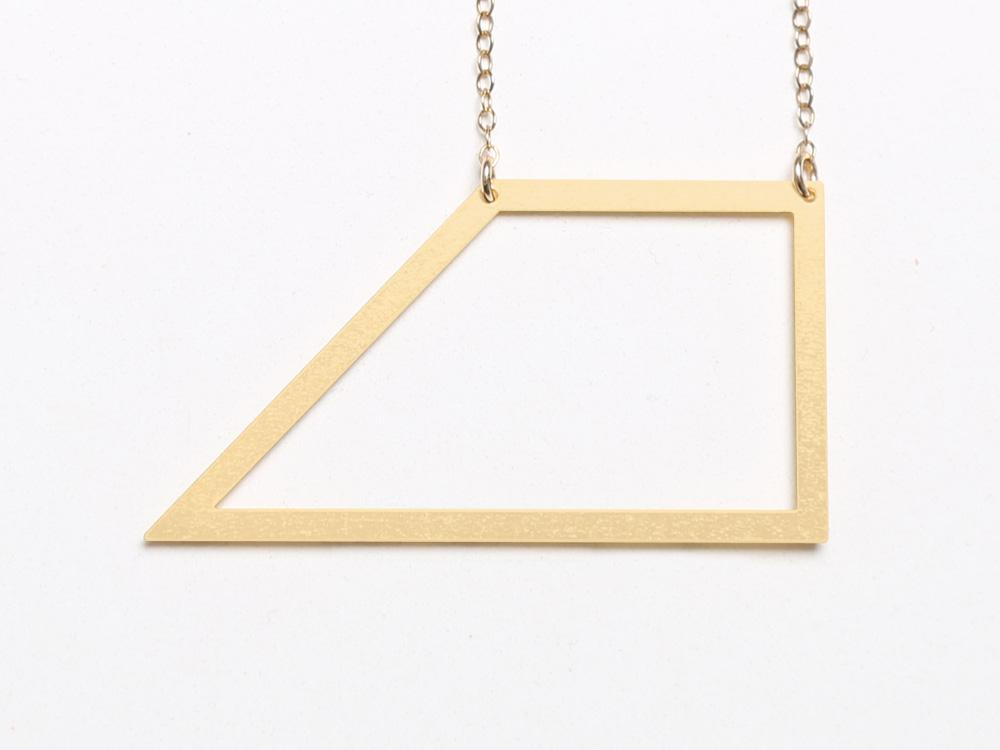 Large Trapezoid Necklace - Brevity Jewelry - Made in USA - Affordable Gold and Silver Jewelry