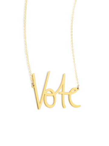 Vote Necklace - Brevity Jewelry - Made in USA - Affordable Gold and Silver Jewelry