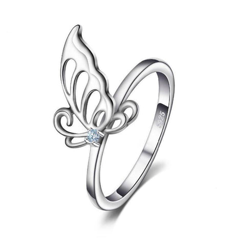 Blue Stone Silver Butterfly Cocktail Ring Breon-Jovon
