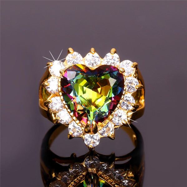 Big Heart Crystal Cocktail Rings For Women Breon-Jovon