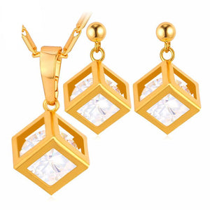 Luxury Square CZ Crystal Earrings And Charm Necklace Set Breon-Jovon