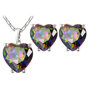 Heart Crystal Earrings Necklace Set Breon-Jovon