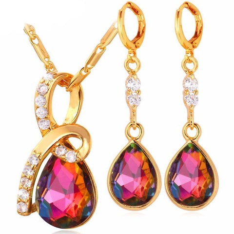 Romantic Water Drop Gift Set Earrings/Necklace Breon-Jovon