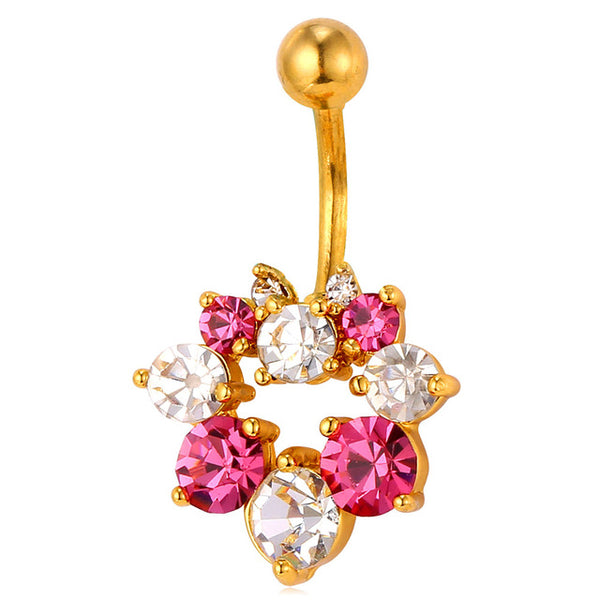 Rhinestone Flower Belly Button Ring Breon-Jovon