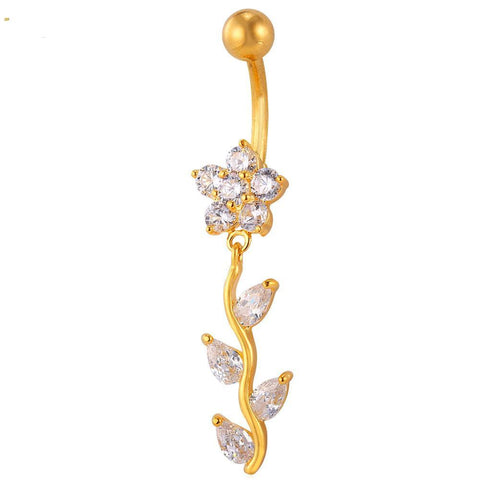 Flower and Leaves Belly Button Ring Breon-Jovon