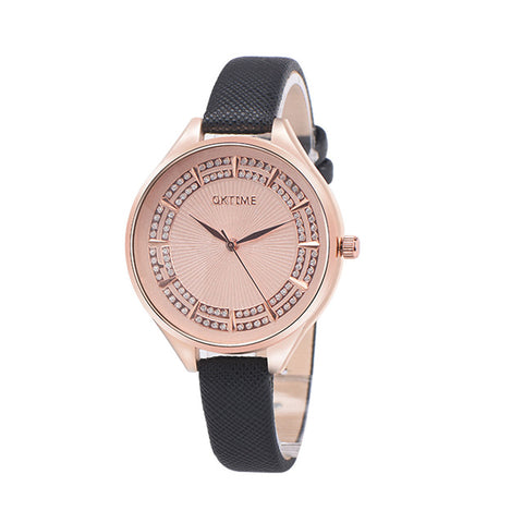 Elegant Rhinestone Quartz Leather Wrist Watch Breon-Jovon
