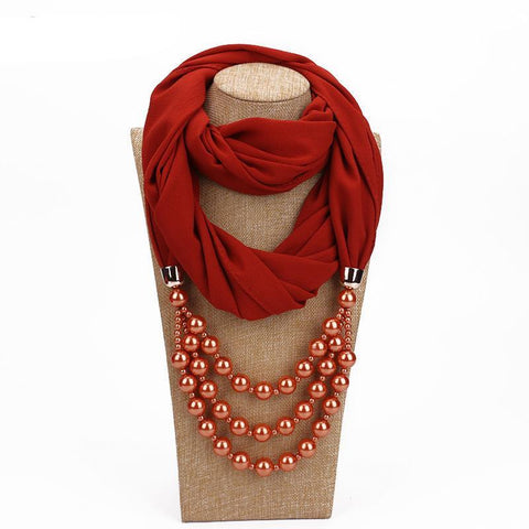 Multi-layer Pearl Pendant Scarf/Necklace Breon-Jovon