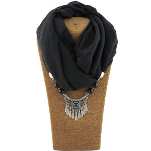 Muslim Cotton Beaded Pendant Scarf/Necklaces Breon-Jovon