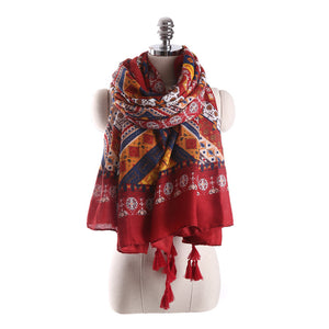 Cotton and Linen Red Tassel Scarf Breon-Jovon
