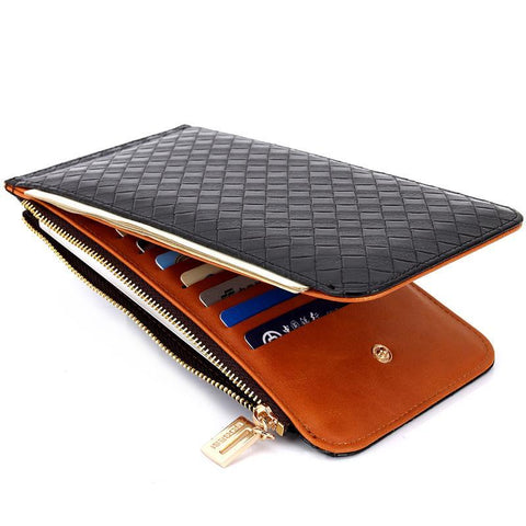 Slim Textured Leather Wallets For Women Breon-Jovon
