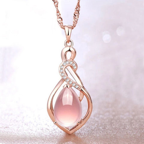 Elegant Pink Drop Rhinestone Pendant Necklace Breon-Jovon