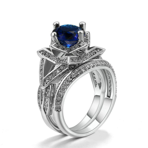 Midnight Blue CZ Silver Rings Sets Breon-Jovon