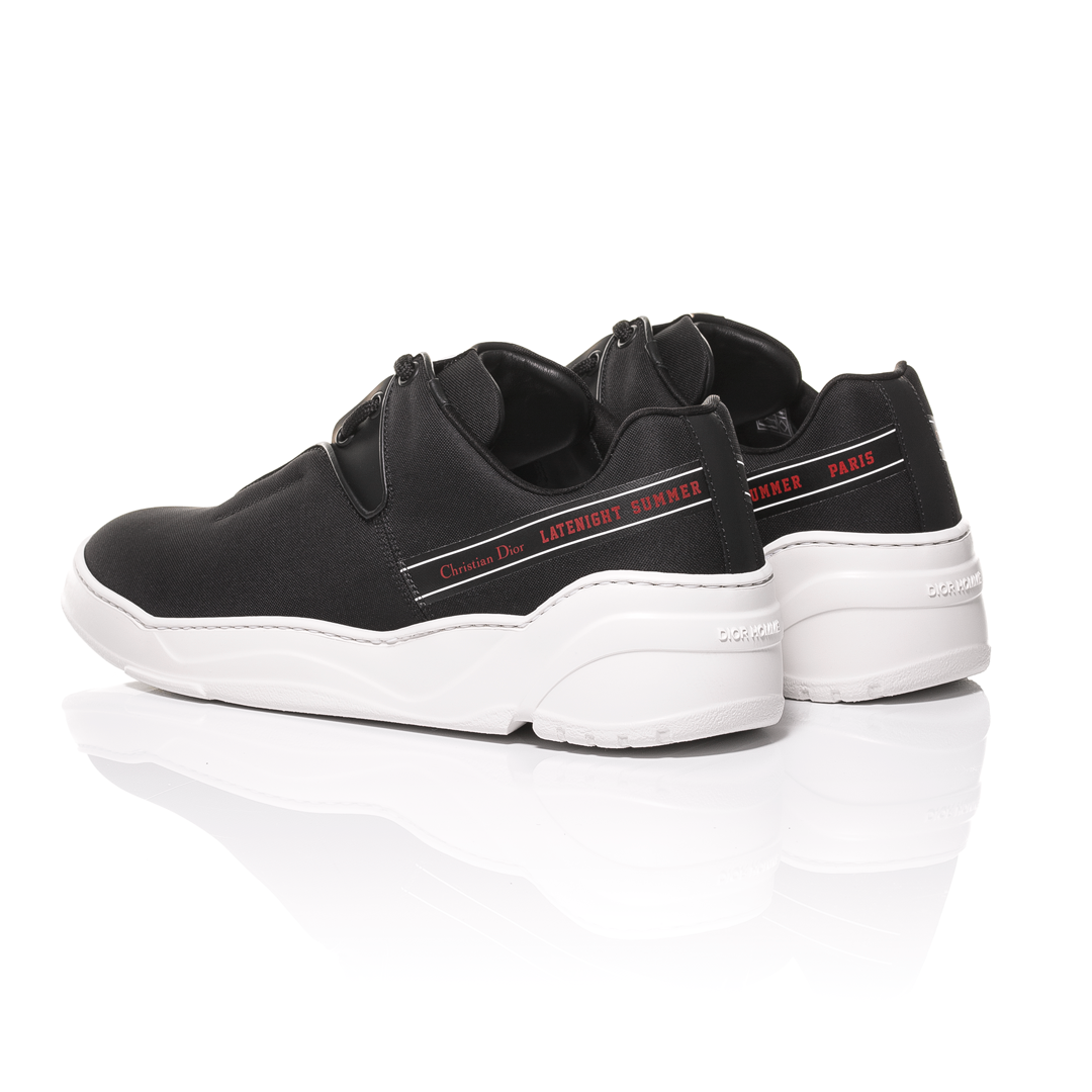 b831d6a0b2b18 Dior Homme SS18 - Black Nylon Canvas and Matt Black Calfskin Sneakers   Latenight Summer