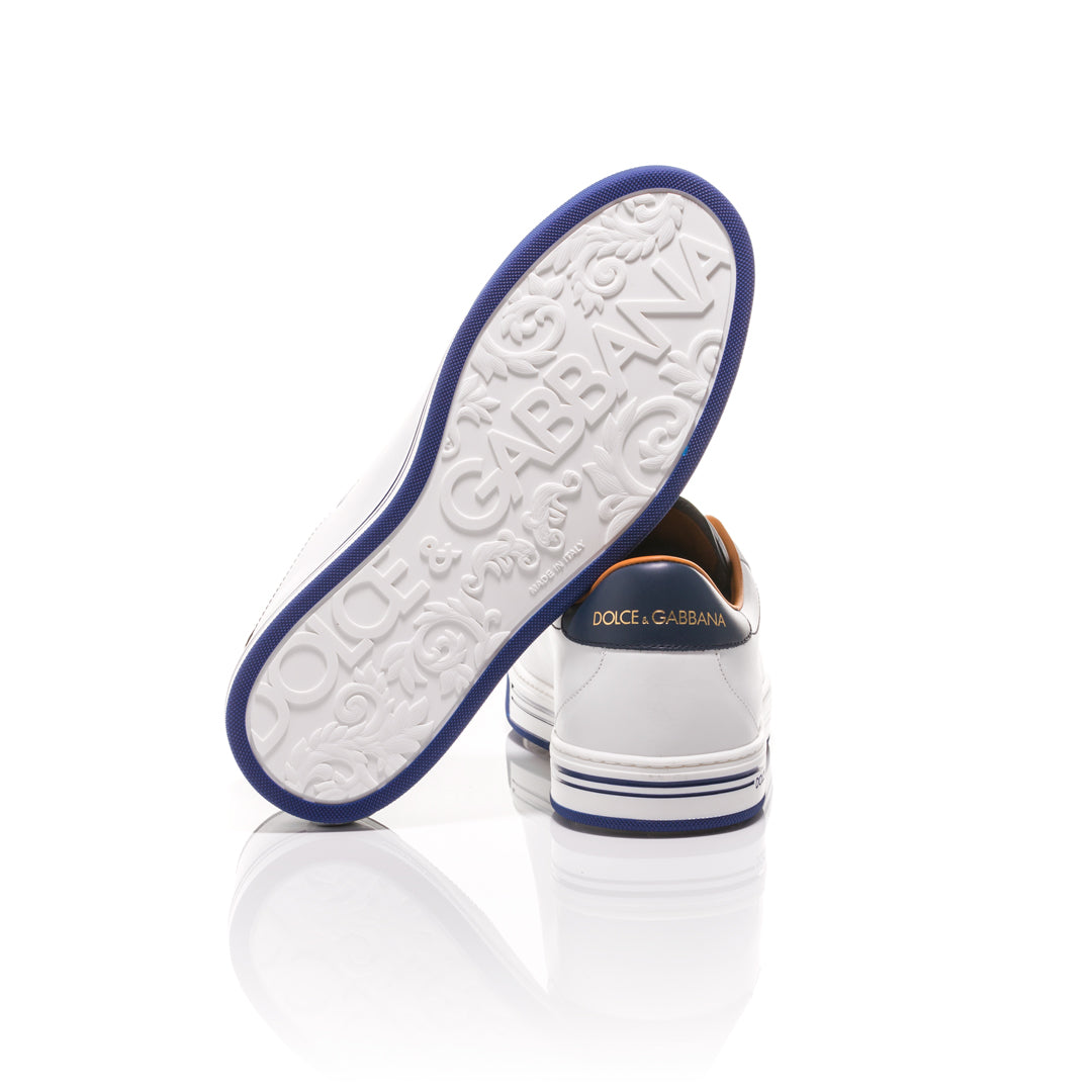 Dolce & Gabbana - White and Blue Roma Sneakers 4
