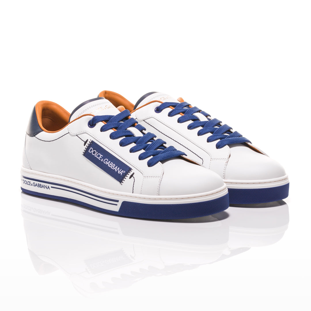Dolce & Gabbana - White and Blue Roma Sneakers 1