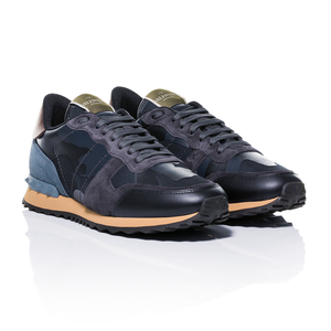 Valentino - Rockrunner Camouflage-Print Navy Leather And Suede Sneakers 1