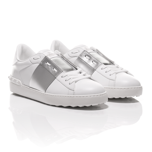Valentino - Open Silver Striped Leather Sneakers 1