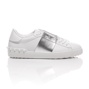 Valentino - Open Silver Striped Leather Sneakers 2