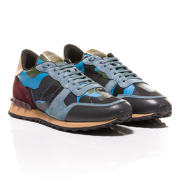 Valentino - Blue-Grey Green Burgundy Rockrunner Camouflage-Print Sneakers 1