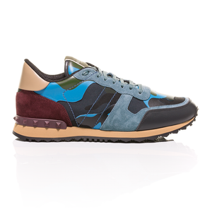 Valentino - Blue-Grey Green Burgundy Rockrunner Camouflage-Print Sneakers 2