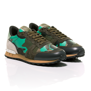 Valentino - Minty Green Camouflage-Print Rockrunner Sneakers 1