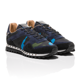 Valentino - Navy Blue Green Rockstud Camouflage Sneaker 1
