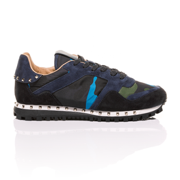Valentino - Navy Blue Green Rockstud Camouflage Sneaker 2