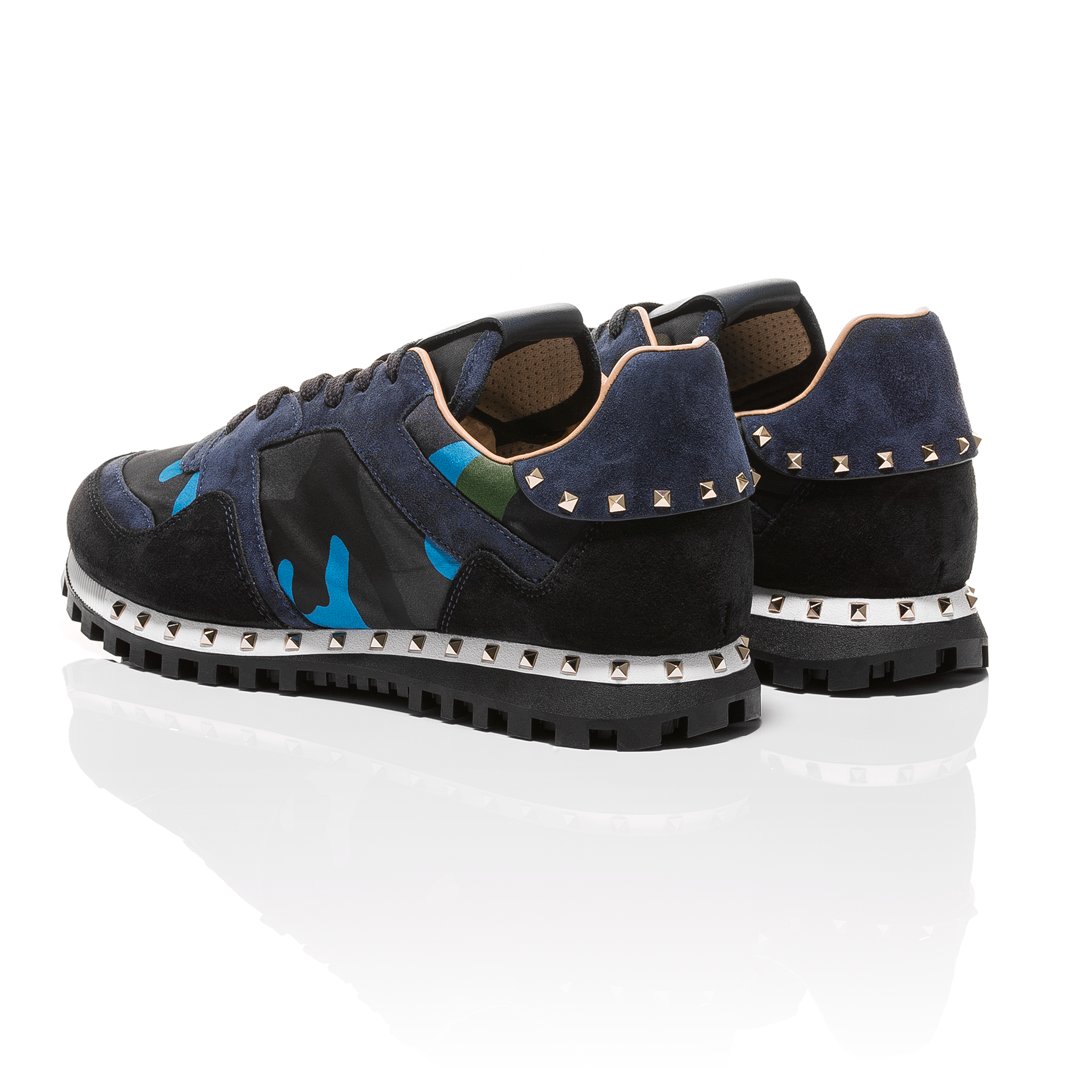 Valentino - Navy Blue Green Rockstud Camouflage Sneaker 3