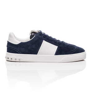 Valentino - Navy Suede Flycrew Sneakers With Leather-Panelled Detail 2