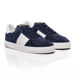 Valentino - Navy Suede Flycrew Sneakers With Leather-Panelled Detail 1