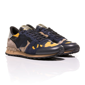 Valentino - Rockrunner Camouflage-Print Canvas, Leather And Suede Sneakers 1