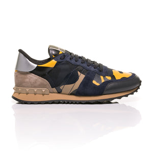 Valentino - Rockrunner Camouflage-Print Canvas, Leather And Suede Sneakers 2