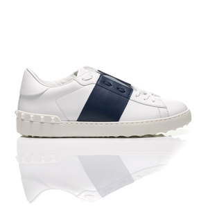 Valentino - Open Navy Blue Striped Leather Sneakers 2