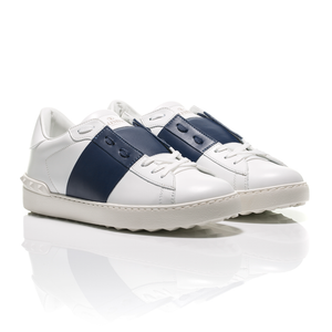 Valentino - Open Navy Blue Striped Leather Sneakers 1