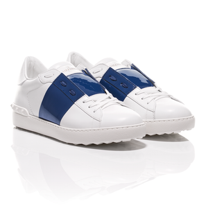 Valentino - Open Shiny Blue Striped Leather Sneakers 1