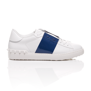 Valentino - Open Shiny Blue Striped Leather Sneakers 2