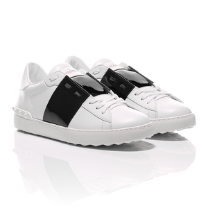 Valentino - Open Shiny Black Striped Leather Sneakers 1