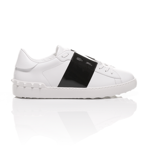 Valentino - Open Shiny Black Striped Leather Sneakers 2