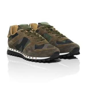 Valentino - Green Rockstud Camouflage Nylon and Suede Sneaker 1