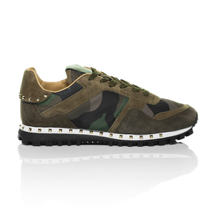 Valentino - Green Rockstud Camouflage Nylon and Suede Sneaker 2