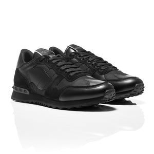 Valentino - Black Rockrunner Camouflage-Print Canvas, Leather & Suede Sneakers 1