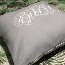 Bitch - Embroidered 100% cotton cushion (Grey)