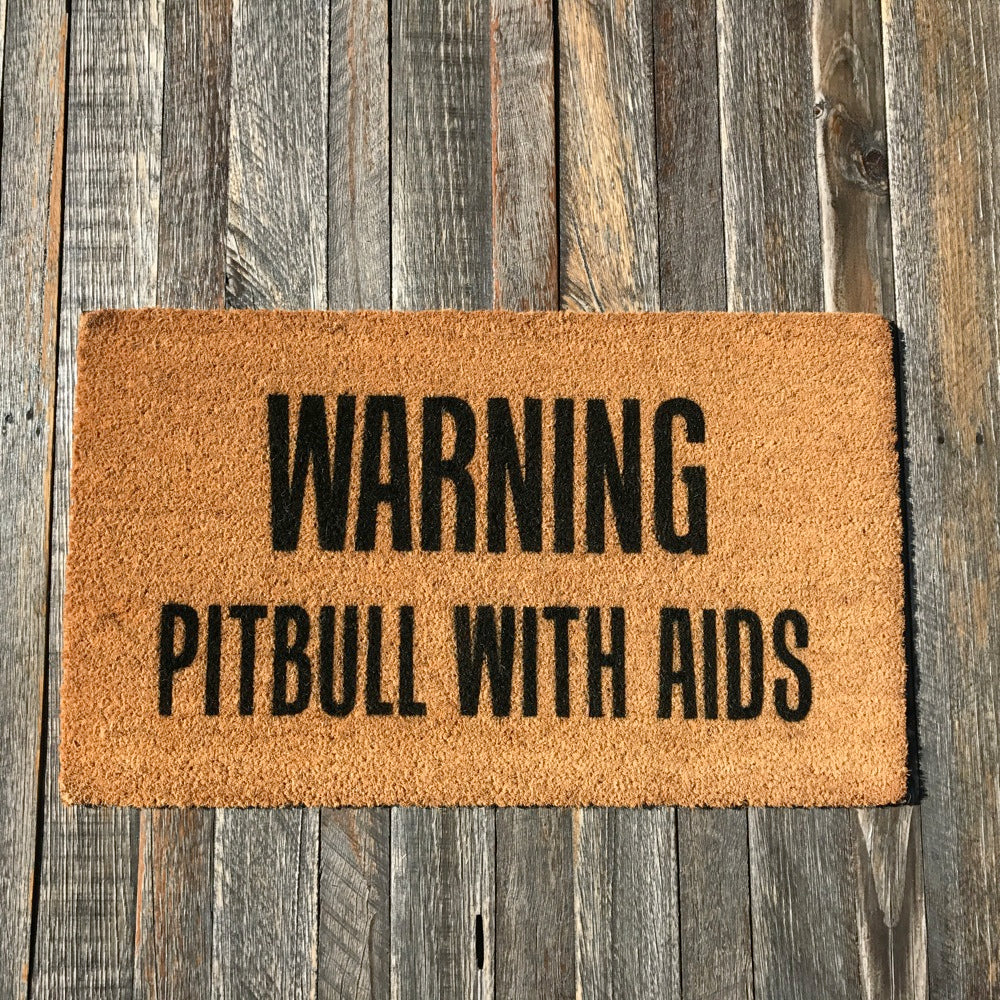 Warning Pitbull with Aids – Natural Coir Doormat