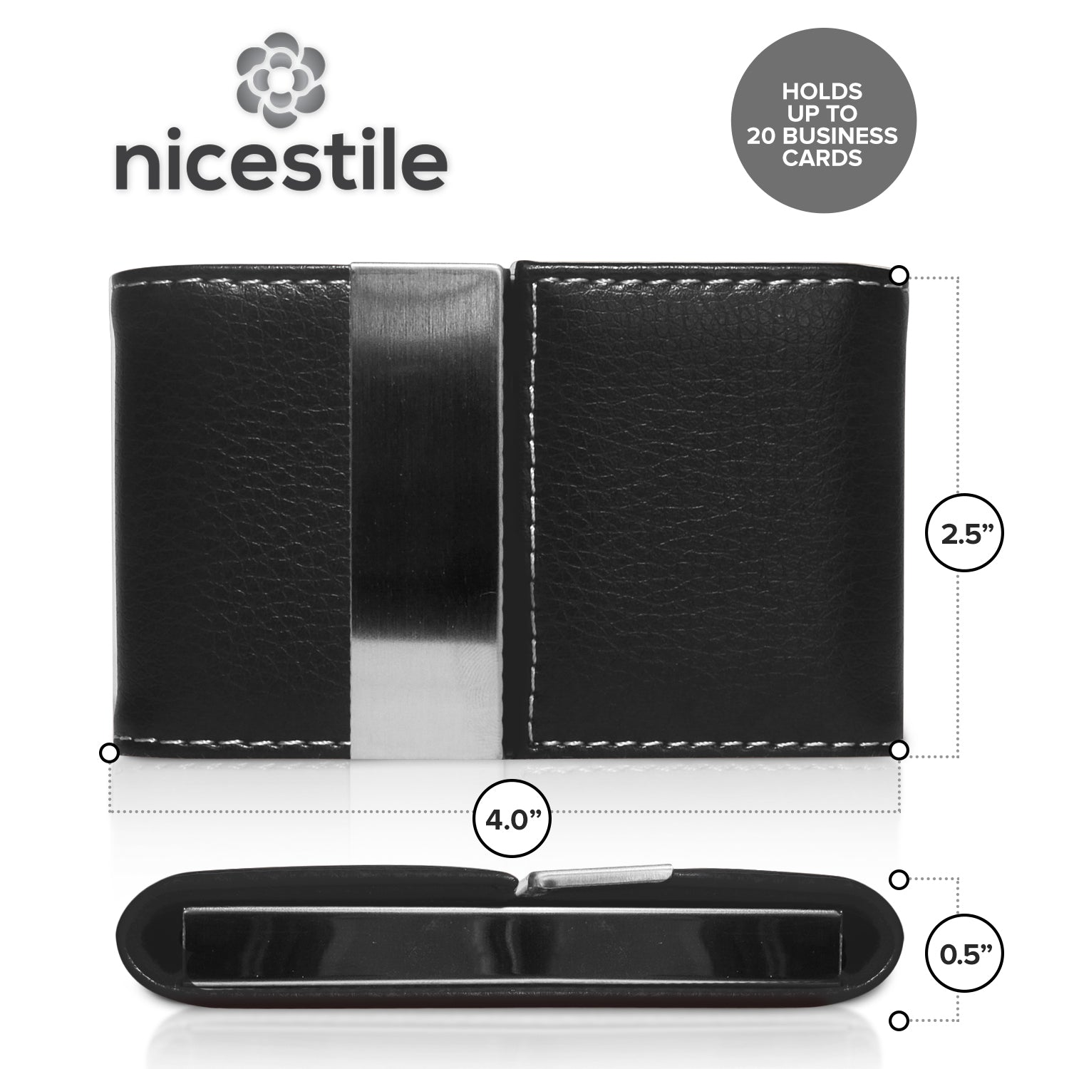Business card holder pu leather stainless steel nicestile usa reheart Images